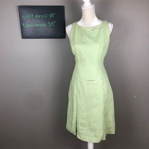 Kay Unger green linen shift dress 10